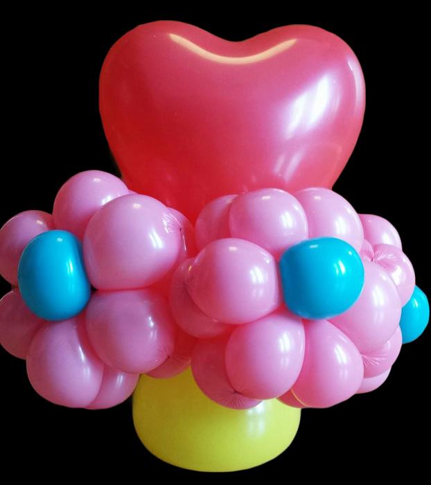 balloon flower bouquet pink heart