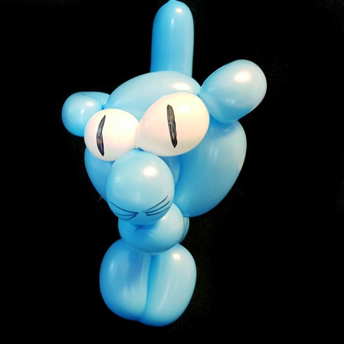 blue cat balloon animal