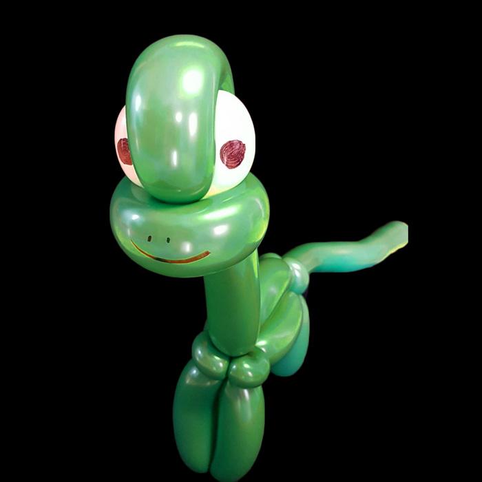 green dinosaaur balloon animal
